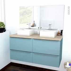Plan De Meuble : ensemble salle de bains meuble keria bleu plan de toilette ch ne clair ikoro double vasque ~ Melissatoandfro.com Idées de Décoration