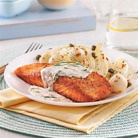 cuisiner filet de saumon saumon à la crème d 39 aneth et concombre soupers de