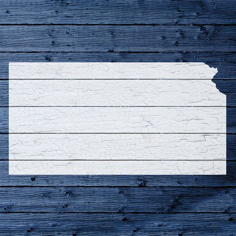 map  kansas state outline white distressed paint