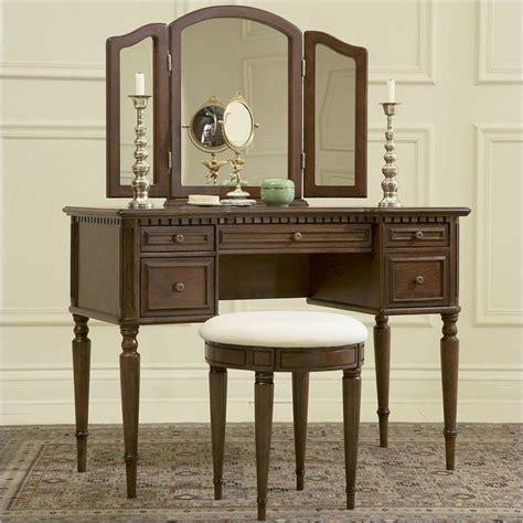 Wood Makeup Vanity - warm cherry wood makeup vanity table with mirror and bench