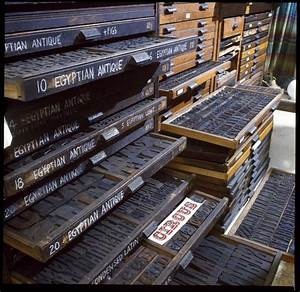 Cases of wood type at the Press