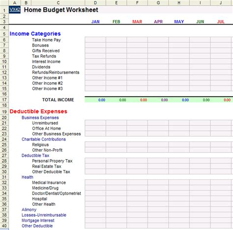 home budget worksheet template