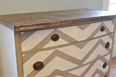 Repurposed Dresser To Chevron Kitchen Buffet With Butcher