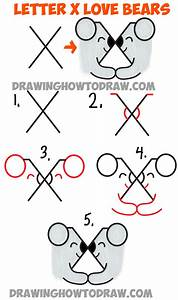 How to Draw Two Bears in Love from the Letter X - Simple ...