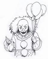 Coloring Clown Scary sketch template