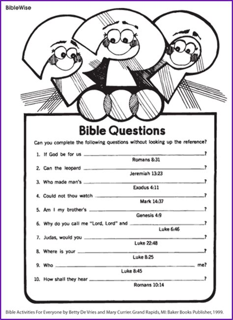 answer different questions from the bible korner