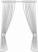 Curtain Silhouette Vector Outline Pages Coloring Silhouettes Svg Through sketch template