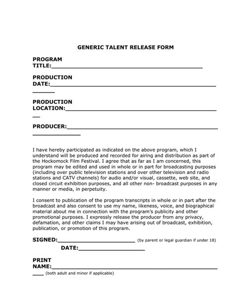 generic talent release form  word   formats