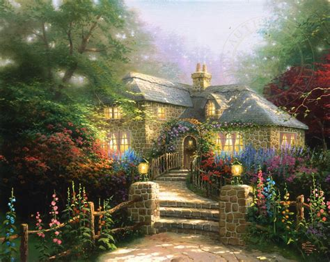 the cottage painting hollyhock house limited edition kinkade studios