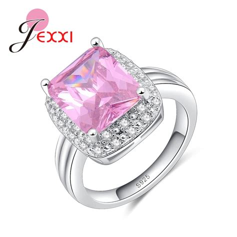 jexxi brand new style wedding rings s90 silver for pink crystal with small stone around