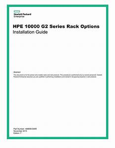 Hpe 10000 G2 Series Rack Options Installation Guide