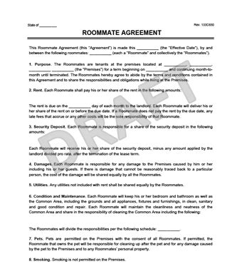 roommate contract template roommate agreement contract create a free template