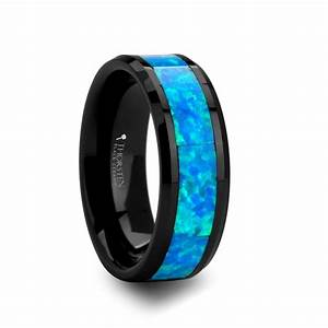 poseidon men39s black ceramic wedding band with blue opal With blue and black wedding rings