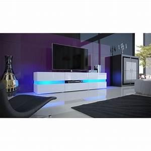Meuble Tv Led Blanc Laqué : meuble tv blanc laqu avec led 139 cm achat vente meuble tv meuble tv blanc laqu avec les ~ Teatrodelosmanantiales.com Idées de Décoration