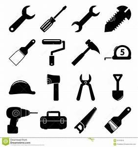 Tools icons stock vector Image of brush, symbol, helmet