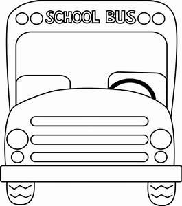 School Bus Front Black and White Clip Art - School Bus ...