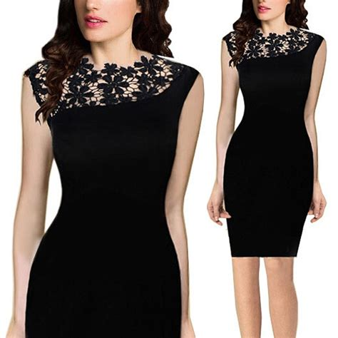 Women Lace Sleeveless Bodycon Cocktail Evening Party Short