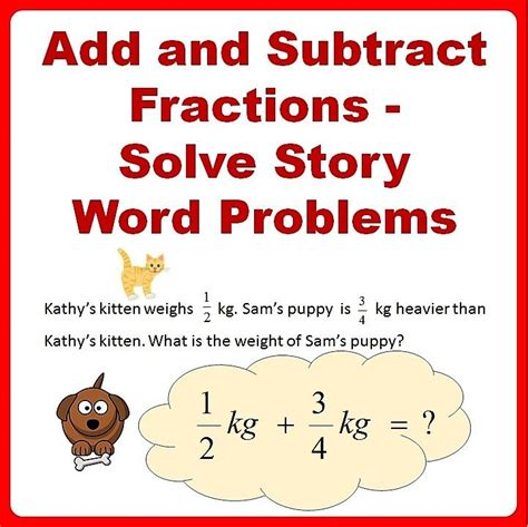 fractions word problems worksheets add and subtract 4th