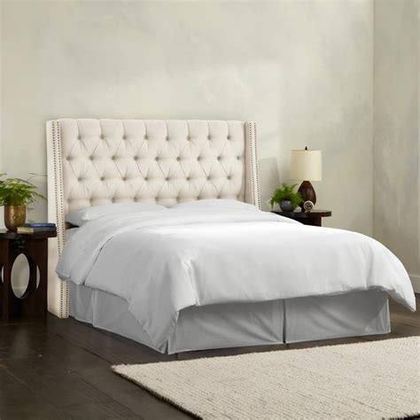 tufted wingback headboard linen talc king nail button tufted wingback headboard