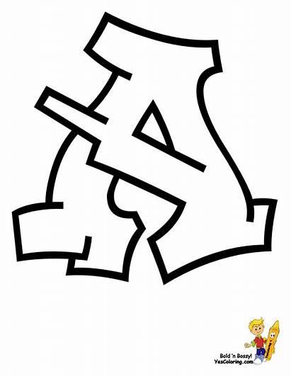 Coloring Pages Abc Graffiti Letter Alphabet Letters