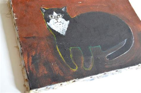 folk art cat painting  paul kitchin mid century modern