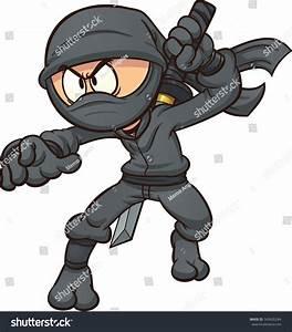 Cartoon Ninja Drawing Katana Vector Clip Stock Vector ...