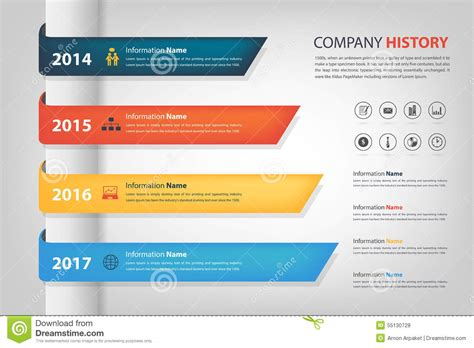 company history in time line year horizontal graph bar vector stock illustration image