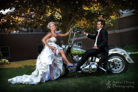 Bride And Groom Motorcycle On Their Wedding Day In Fall In