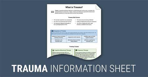 trauma worksheet therapist aid