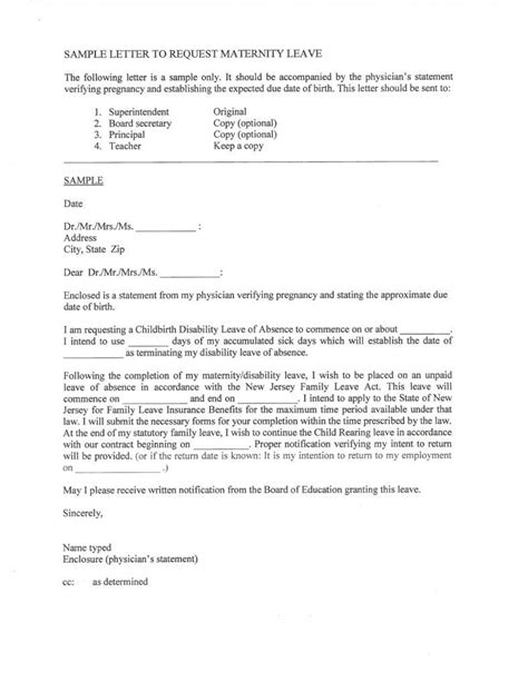 maternity leave letter templates   premium