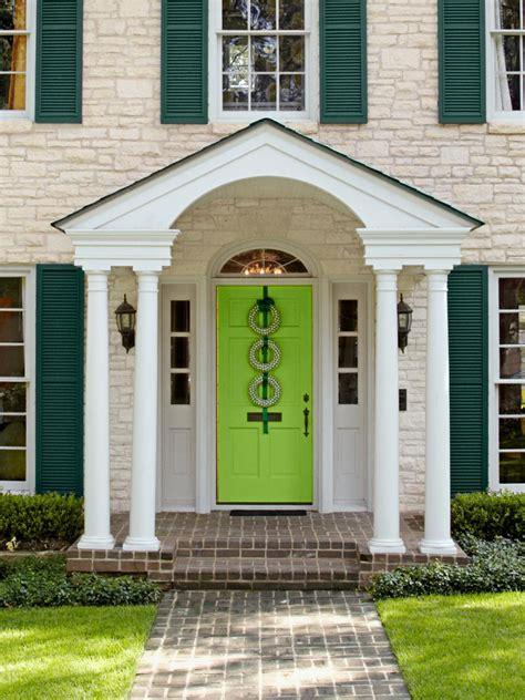 Neon Green Front Door on Neutral Stone Home   HGTV