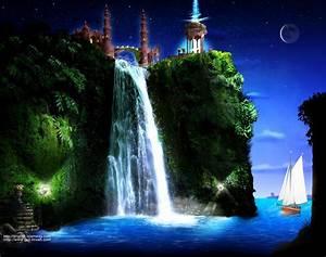 Moving Waterfall Wallpaper | Free download Islamic art ...