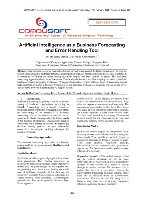 Artificial Intelligence as a Business Forecasting