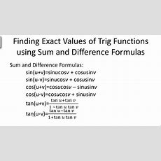 Finding Exact Trigonometric Values Using Sum And Difference Formulas  Ck12 Foundation