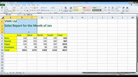 protecting a worksheet excel 2010 youtube