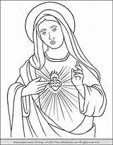 Mary Coloring Virgin Immaculate Heart Pages Catholic Sacred Blessed Mother Sheets Printable Adult Teresa Jesus Thecatholickid Lady Children Conception Rosary sketch template