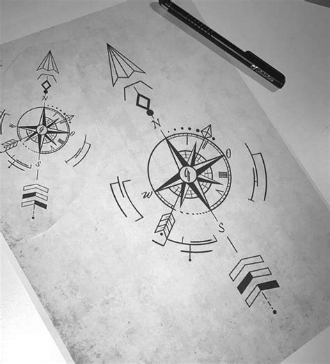 geometric compass arrow tattoos  arrow compass