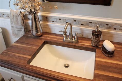 Ideas For Bathroom Countertops by Small Bathroom With Walnut Wood Countertop Www