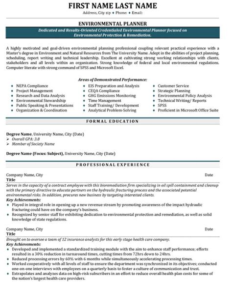 Environmental Specialist Resume by Top Environment Resume Templates Sles