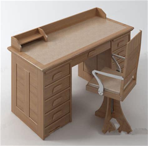 Mod¨¨le de bureau en bois massif 3D Model Download Free 3D
