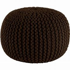 Hand Knitted Cable Style Dori Pouf  Chocol Floor
