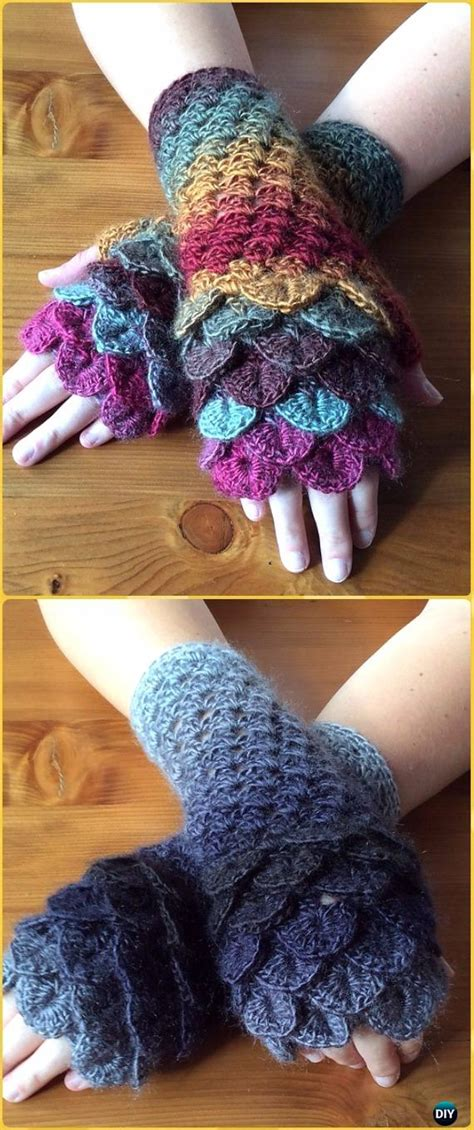 crochet dragon scale crocodile stitch gloves fingerless