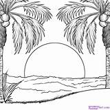 Sunset Coloring sketch template