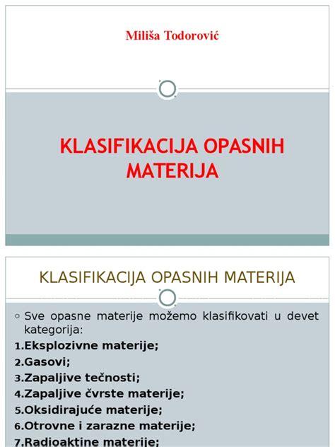 1. Klasifikacija Opasnih Materija