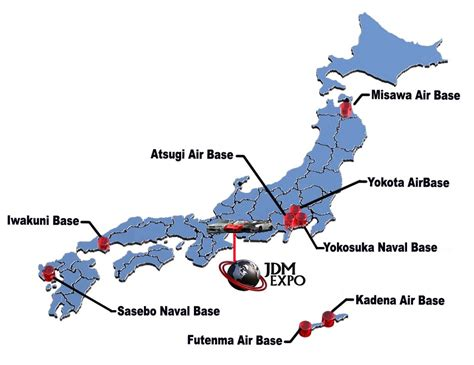 Map Naval And Military Air Force Bases Japan