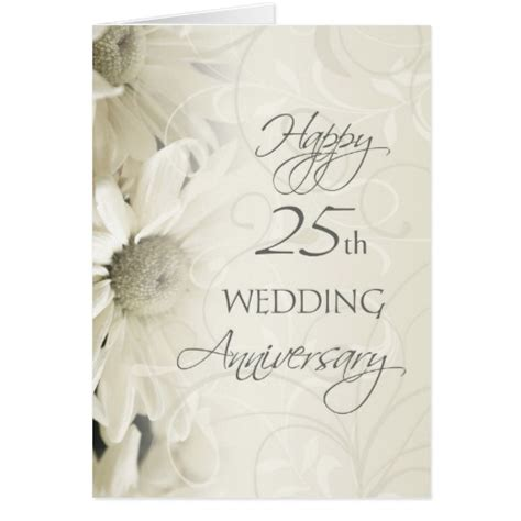 white flowers happy  wedding anniversary card zazzle
