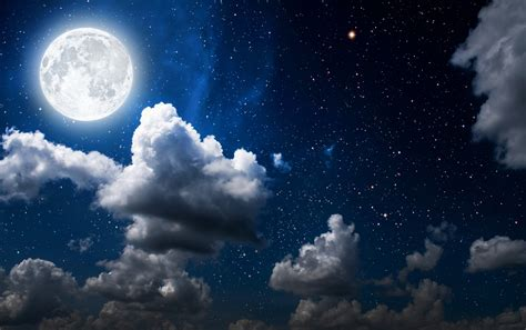 Wallpaper Moon, Clouds, Sky, Full Moon, Hd, Nature, #1519