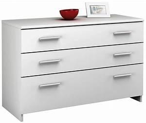 Commode à Tiroirs : commode 3 tiroirs esther blanc ~ Teatrodelosmanantiales.com Idées de Décoration