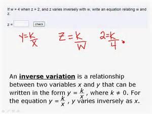Inverse Variation Equation Formula