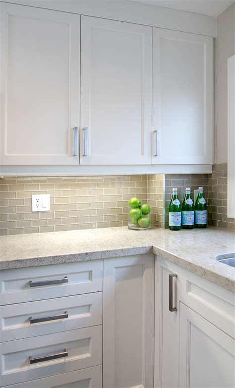 Gray Backsplash Kitchen White Shaker Cabinets Gray Subway Backsplash Kashmir White Granite Countertops Home Decoras